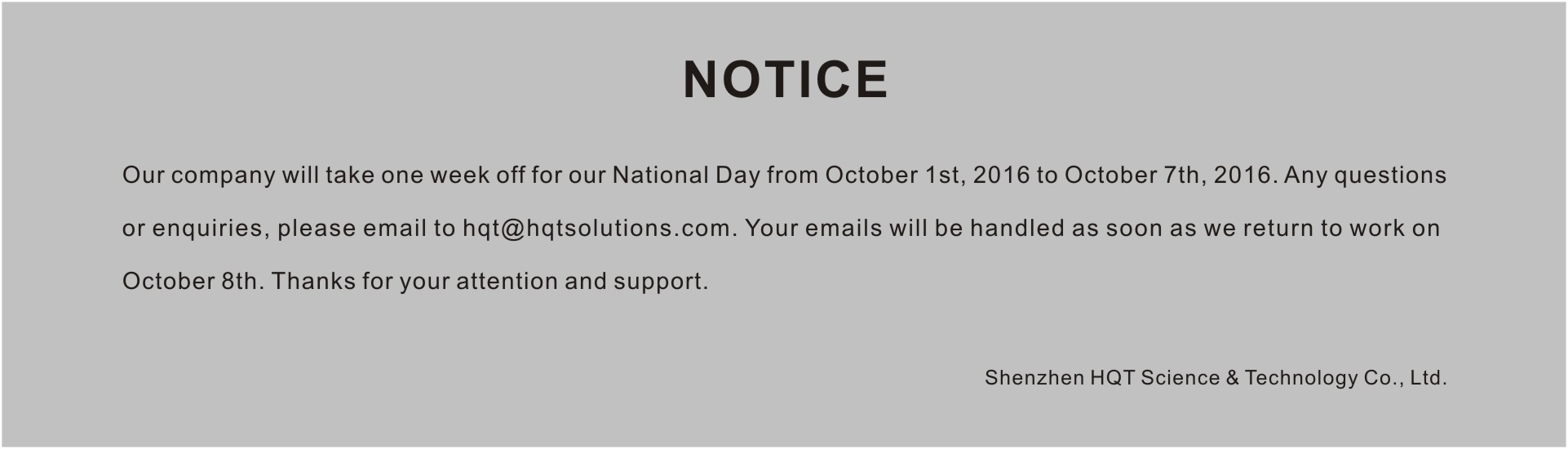 Notice of Holiday for China's National Day